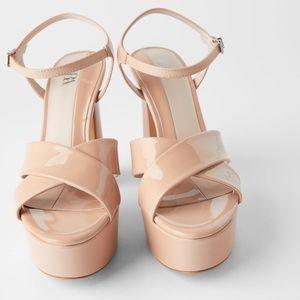 Zara high heeled Patent finish sandals